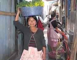 Mädchen schleppt Verkaufswaren für den Markt