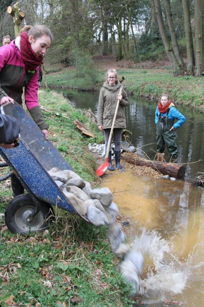 Renaturierung des Flusses Nette: Die Schülerinnen bauen Laichplätze für Fische.